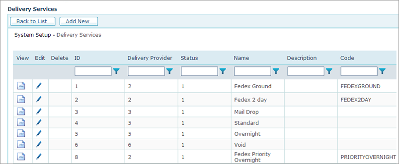 uStore Online Help - Setting Up the Delivery Services Table