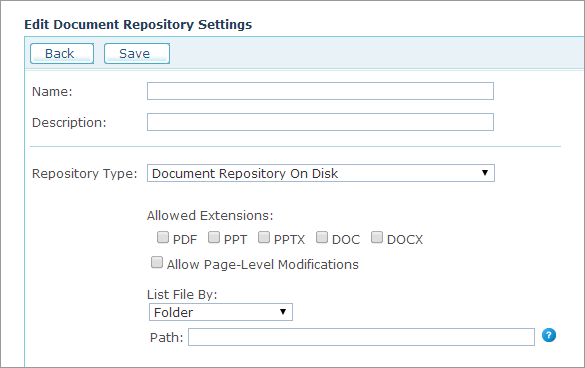 uStore Online Help - Setting Up Document Repositories