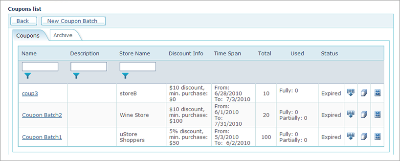 Ustore Online Help Coupon Setup Overview