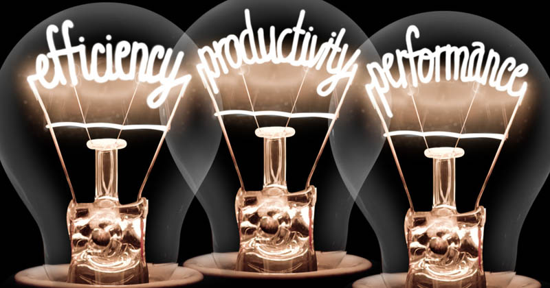 3 light bulbs 'Efficiency', 'productivity', 'performance'.